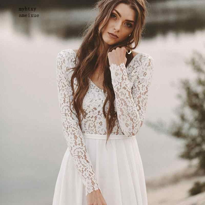 Tanie plaża suknia ślubna z długim rękawem Boho V Neck bez pleców suknie ślubne 2019 szyfonowa koronka księżniczki szyfonowa suknia ślubna Novia