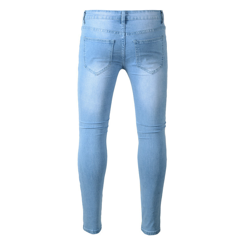 New Fashion Mens Jeans Distressed Hole Pants Washed Blue Denim Skinny Jeans Men Pencil Trousers Full Length High Street 28~38