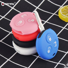 KEYYOU 3 Buttons Silicone Car Key Cover Fob Case For Mercedes Benz Smart City Roadster Fortwo Key Holder Cover Car Styling(China)