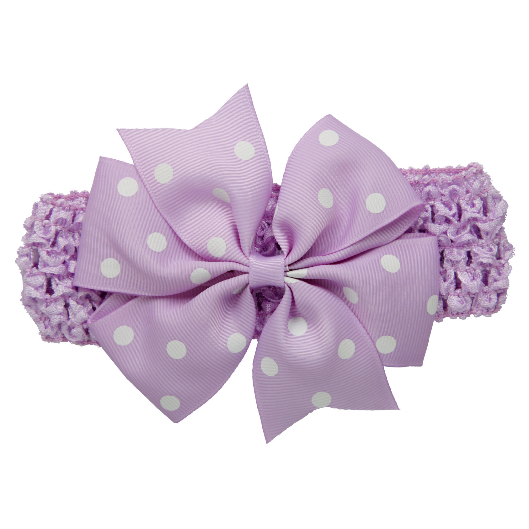 Baby Girl Rib Dovetail satin ribbon Polka Dot Bow Elastic hair band(Light purple) ...
