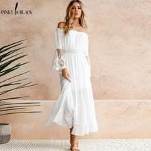 ФОТО pinky is black summer dress 2018 sexy women boho style off shoulder maxi dress flare sleeve white lace spliced dress vestidos