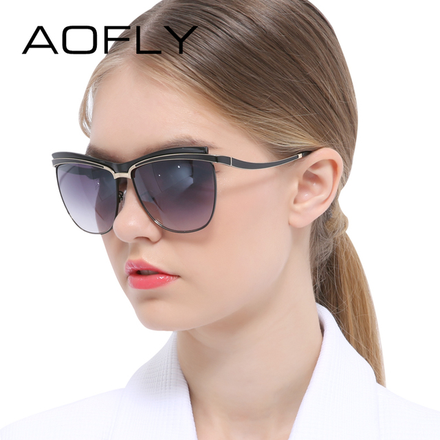AOFLY Sunglasses Female Cat Eye Sunglasses Women Half Frame Glasses Unique Style Women Brand Design UV400 Outdoor Goggles Shades