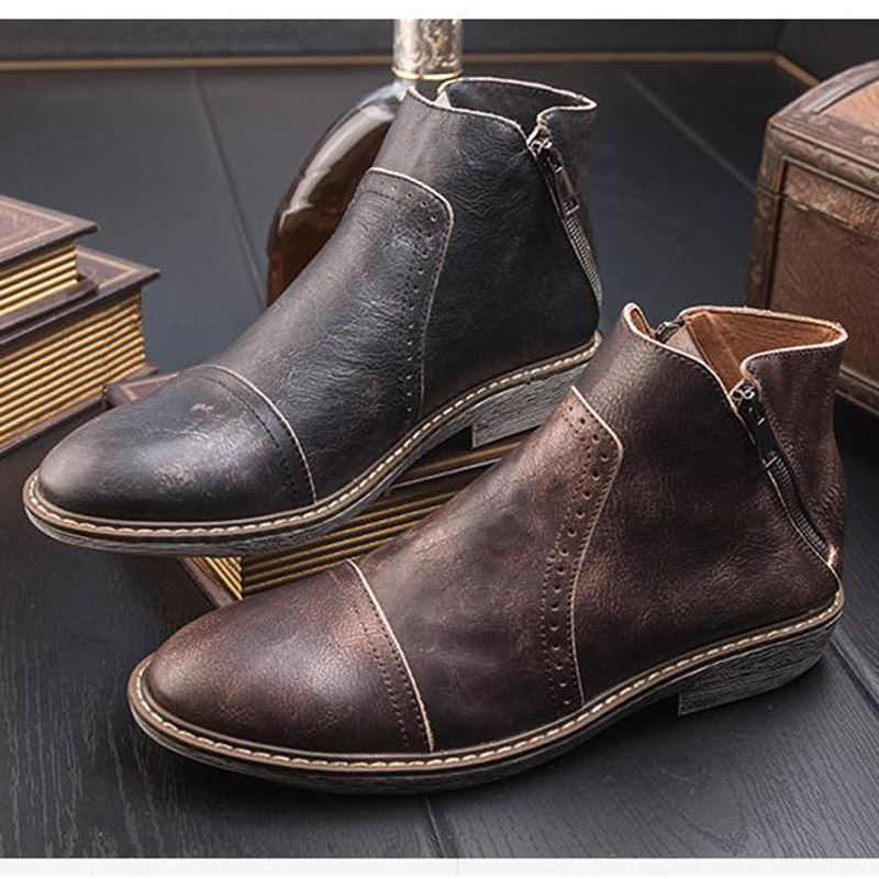 DAVIKO Winter Retro Chelsea Boots Male Leather Sleeve Boots Men England do old tide boots 810-6  franke old england 115 0180 673