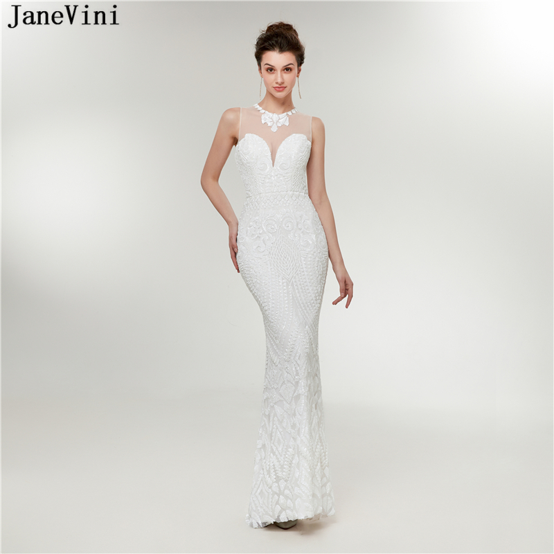 JaneVini Mermaid Prom   Dress   O Neck Sequined White Long   Bridesmaid     Dresses   Sleeveless Floor Length Formal Party Gowns Lange Jurk