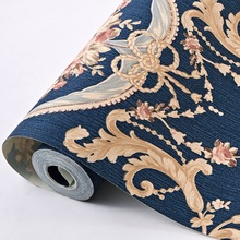 European Style 3D Floral Luxury Wall Paper Roll Waterproof PVC Wallpers Strip for Bedroom Walls Wallcovering AB Version 4 colors
