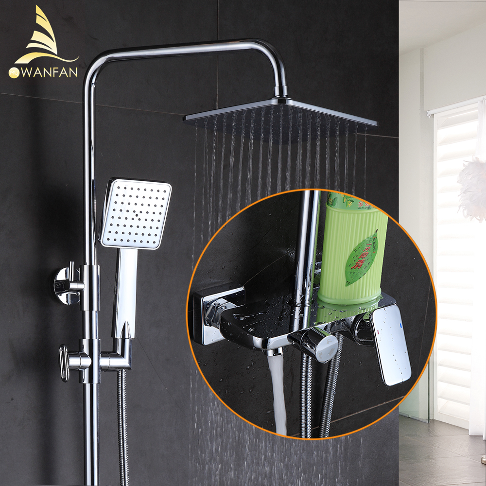 Bath Shower Faucet Chrome Bath Shower Set Wall Mounted Bathtub Faucet Rain Shower Head Square Bar Bathroom Mixer Tap Set 877012 luxury high quality bathroom chrome rain shower set thermostatic shower faucet bath