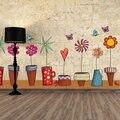 Пот Завод Цветок Бабочка Природа Прекрасный Окно Наклейки На Стены ПВХ Стикер Стены Домашнего Декора DIY Главная Гостиная