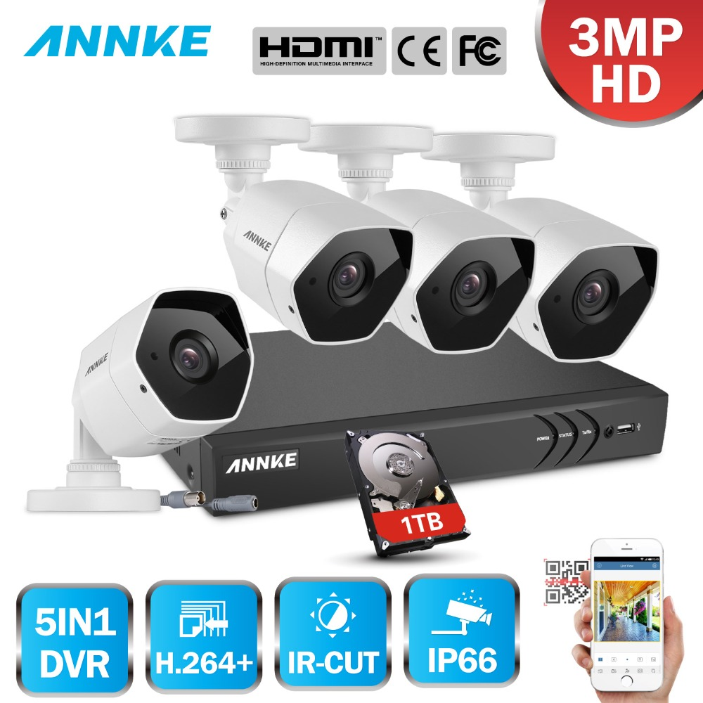 ANNKE Full HD 3MP 4CH 5in1 NVR 4PCS 3MP Surveillance Bullet IP66 Weatherproof H.264 Camera Home Outdoor CCTV Security System Kit цена в Москве и Питере