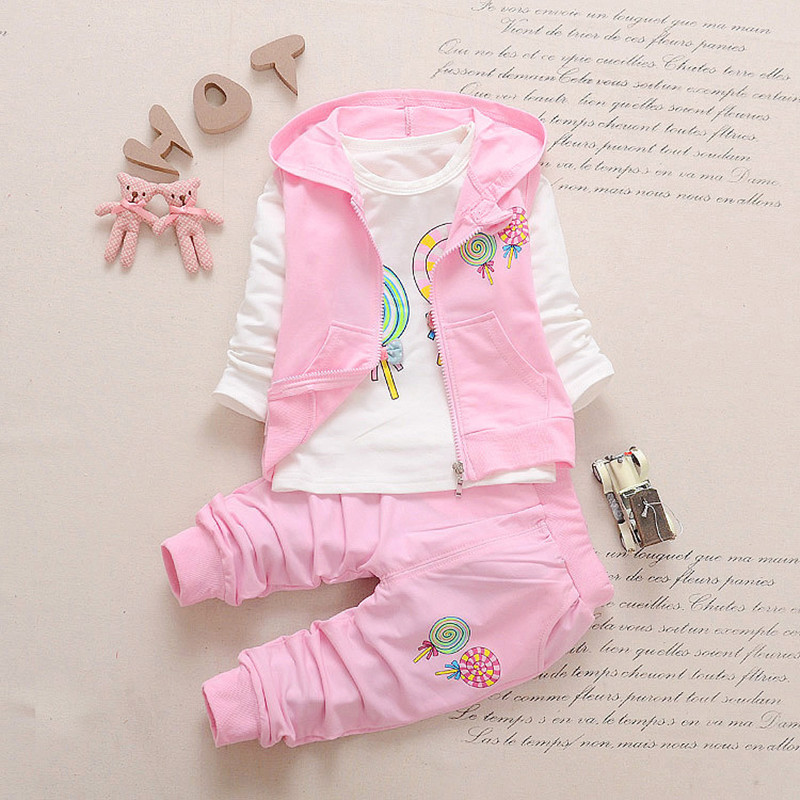 New spring & autumn girls clothes sets T-shirt+ Pants+coat 3pcs/set full sleeve children clothing set cotton clothes for girls 2015 autumn girls clothes fashion punk pu leather coat jacket shirt pants 3pcs children clothing set 4 15 years old kids clothes page 5