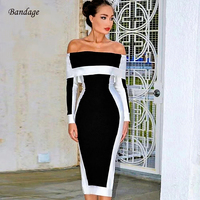 2019 Sexy Autumn Bodycon Bandage Dress Long Sleeve Vestidos Verano New Fashion Off Shoulder Women Going Out Party Dresses Black