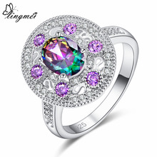 lingmei New Oval Cut Multicolor Purple & Blue Pink White CZ Silver Color Ring Size 6 7 8 9 Wedding Women Jewelry Engagement Gift dupuy 6 8mm oval cut morganite ring