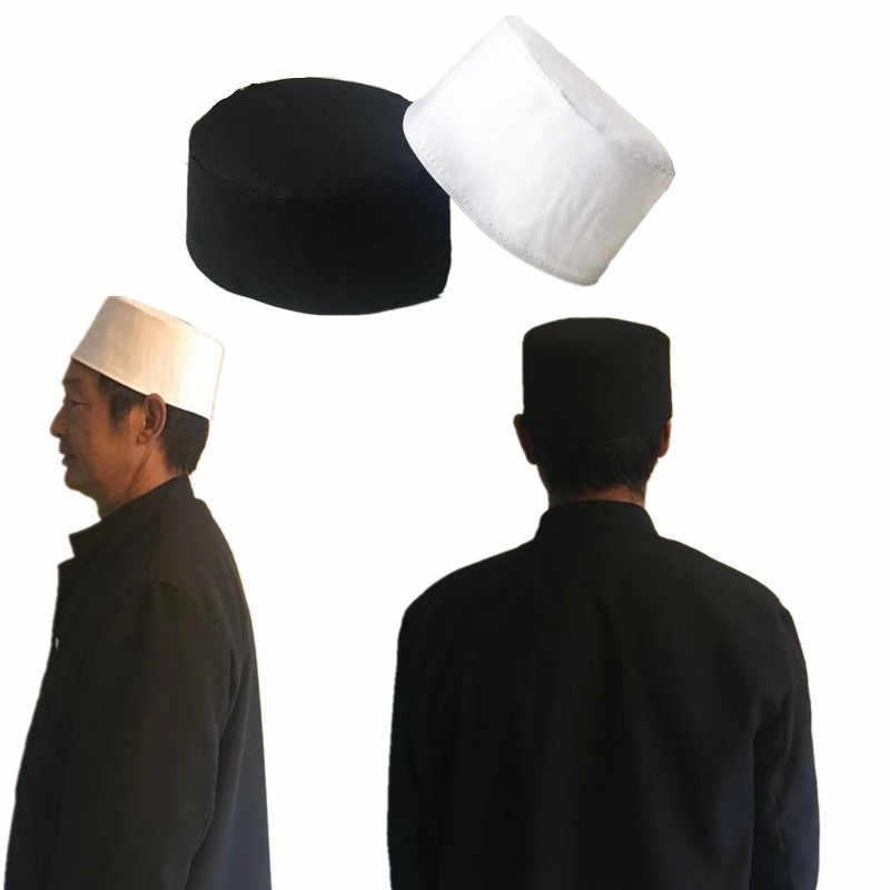 303812b01bc2 Cotton Mens Saudi Arabia Turban Muslim Cap Hats Men Prayer Hat Islam  Egyptian Kufi Topi White