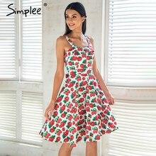a15d09cd67 Simplee owoce drukuj pasek letnia sukienka kobiety na co dzień księżniczka midi  sukienka wiosna boho krótka