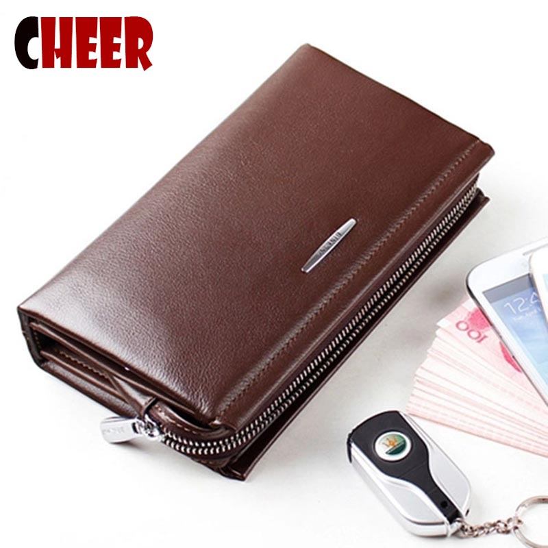 Genuine Leather wallet men's wallets men purse money clip Pockets Casual Clutch purse brands high quality Multifunction wallet