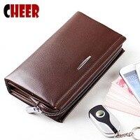 Men S Genuine Leather Clutch Wallets Vintage Brand Men Zipper Bags Luxury Long Men S Clutch