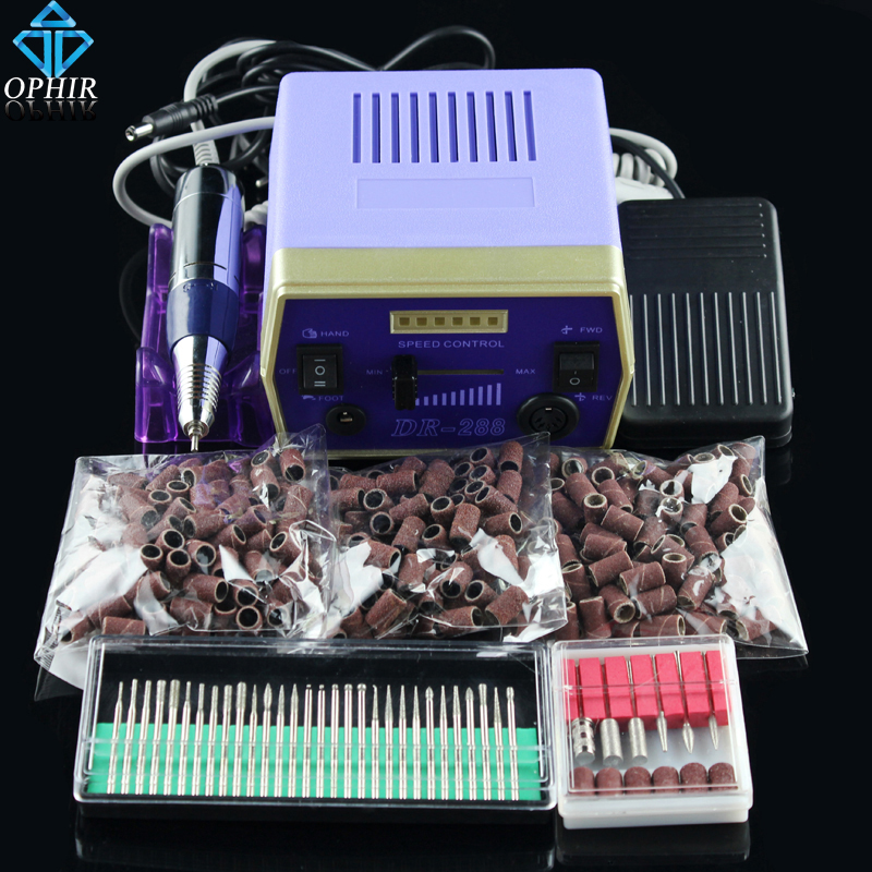 OPHIR 30000RPM Electric Nail Drill Machine Manicure Pedicure Nail Tool 36 Drill Bits 300pcs 80 120 180 Sanding Bands _KD141B+ ophir electric nail drill machine pedicure manicure kit drill nail art equipment 80 120180 sanding bands 30 drill bits kd142