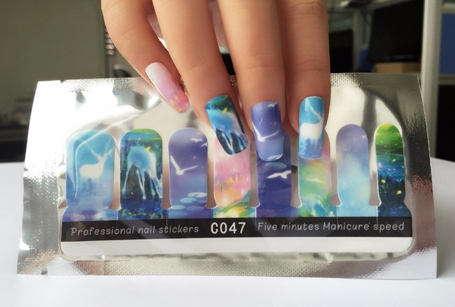 1 pack nail wraps Full Cover watercolour