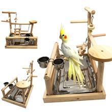 Попугаи игровой стенд птица игровая площадка деревянный окунь тренажерный зал стенд манеж лестницы для птиц Упражнения Тренажерный Зал Cockatiel птица обеденный стол игрушка