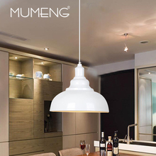 MUMENG Retro Metal Iron Single Head Creative Pendant  Lights White Black E27 Lamp Living Room Bedroom Bar Foyer  Industry Light