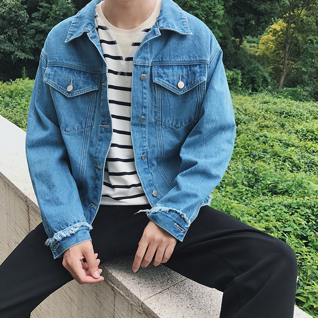 2018 Spring New Style Men S Fashion Retro Denim Jacket Korean Clothes Couple Tops Short Paragraph Free Shipping In Jackets From Men S Clothing