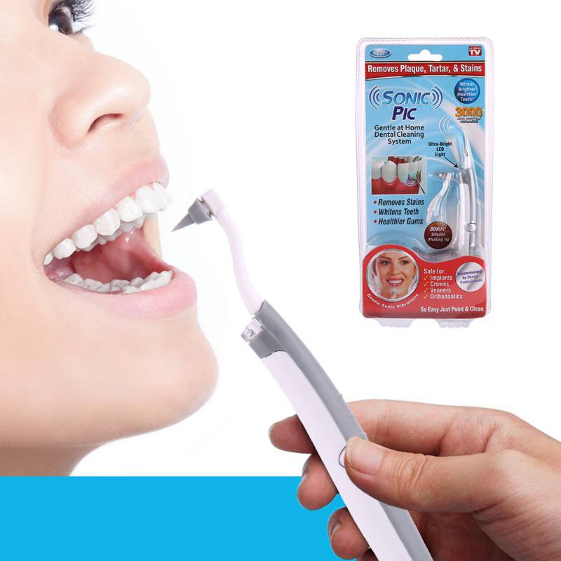 Electric Sonic Pic Tooth Stain Eraser Plaque Remover Dental Cleaning Tool Kit Tooth Teeth Whitening Sonic Tooth Pic