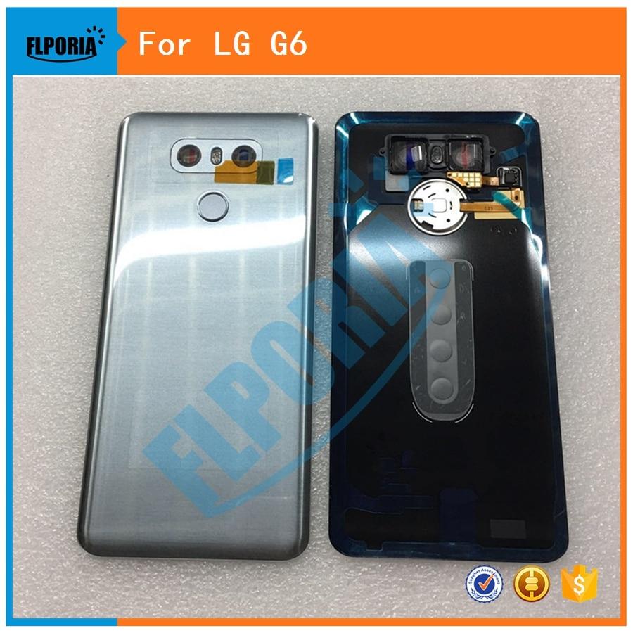 Für LG G6 H870 Zurück Abdeckung Batterie Tür Zurück Gehäuse Hinten Fall Montage Mit Kamera Objektiv glas Touch ID Ersatz teile