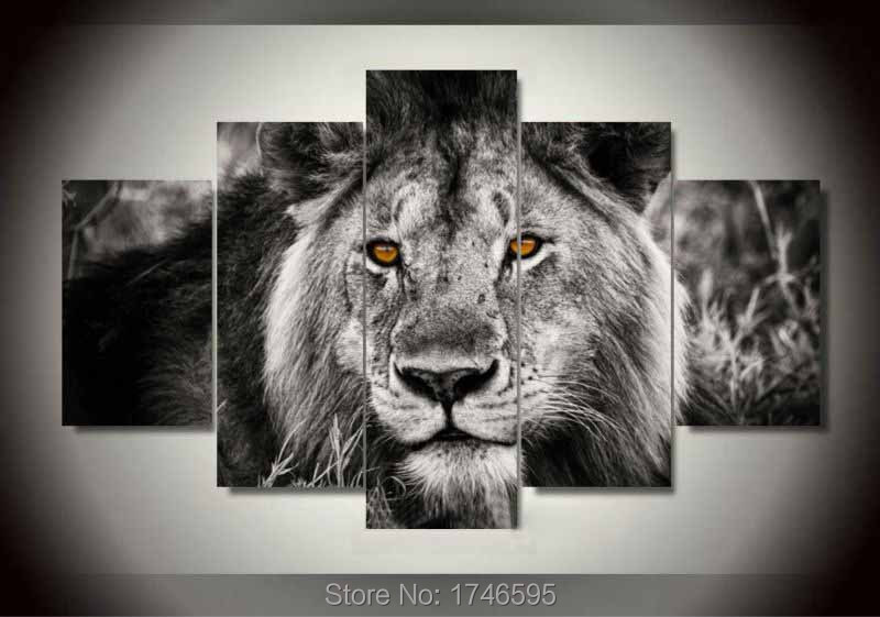 5pcs Modern Home Decorative Animal Wall Art Picture Printed Canvas Art  White Gray Lion Oil Painting