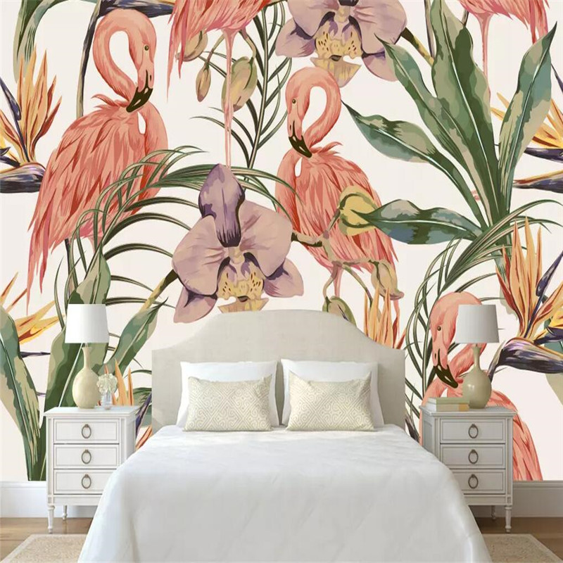Tropical Rainforest Flamingo Background Wall Professional Fabrication Mural Factory Wholesale Wallpaper Mural Poster Photo Wall