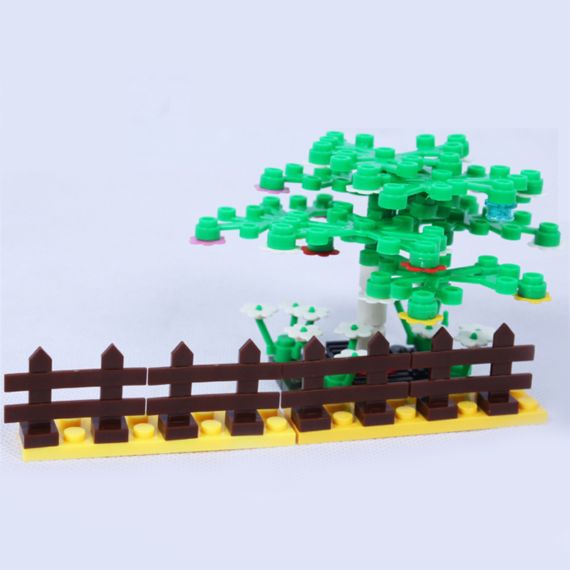 100pcs Garden City DIY Brick Parts Fence Block City Bush Trees Plants Compatible with Legoeings Block Part Children Toys Gifts