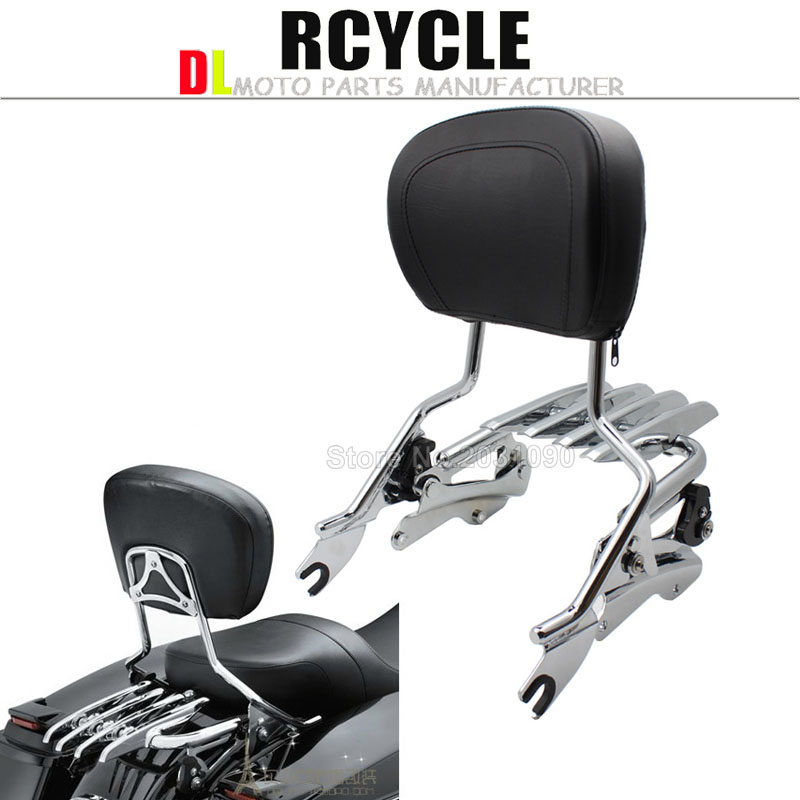 chromed Sissybar Backrest Docking hardware kit Luggage rack For Harley Touring Street Glide roadking ultra CVO