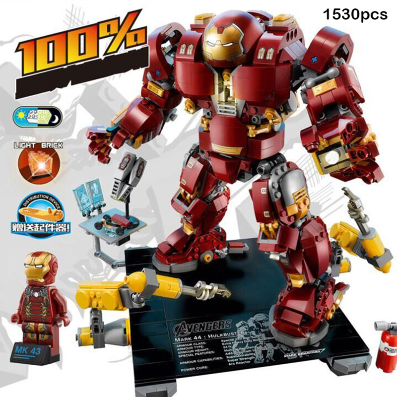Super Heros Iron Man Hulk Buster Model Building Blocks Avengers Figures Compatible Legoed Robots Bricks Toys For Children Gifts single sale large figures super cool hulk buster thanos legoing dogshank venom iron man building blocks toys gifts kids toys