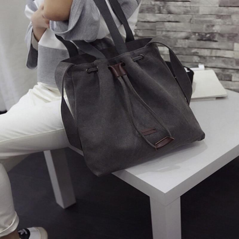 Canvas Shoulder Bags Drawstring Handbag Bucket Tote Messenger Bags Purse Satchel Bags