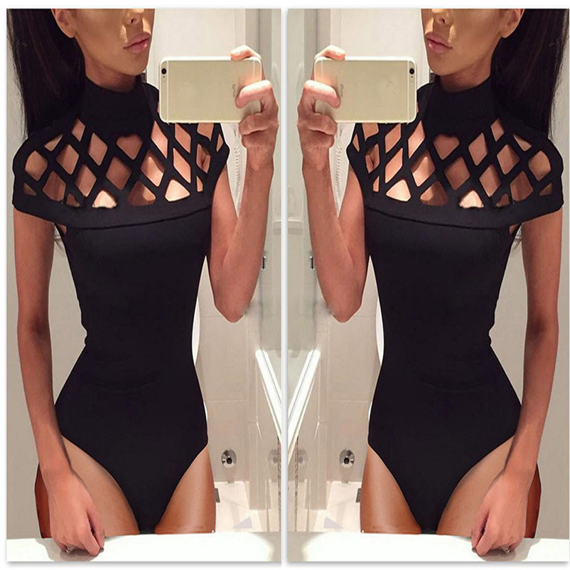 Rompers Sexy Hollow Out Bodycon Playsuit Women 2017 Choker High Neck Caged Sleeves Jumpsuit Women Bodysuit Tops Playsuits St05