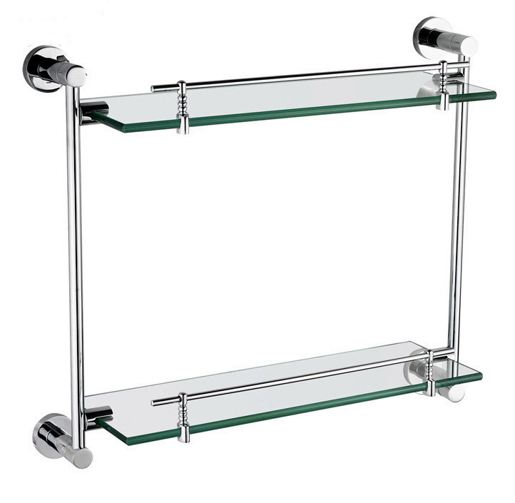 Modern Bathroom Accessories Products Solid Brass Chrome Finished Double Glass shelf GB012G-1 direct selling hot sale bolt inserting type free shipping bathroom accessories solid chrome double shelf wholesale 84012