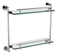 Modern Bathroom Accessories Products Solid Brass Chrome Finished Double Glass shelf GB012G 1