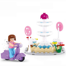 Cat Fountain Building Blocks Compatible with Legoelieds Playmobil for Girls Educational Toys for Children with Original Box 0519