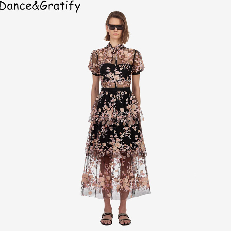 New Self Portrait Dress 2019 Summer Maxi Long Luxury Embroidery Floral Women Sequins Sexy Mesh Perspective