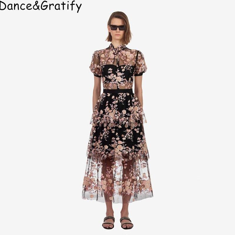 Nouvelle robe autoportrait 2019 été Maxi Long luxe broderie Floral femmes paillettes Sexy maille Perspective robes robe Midi