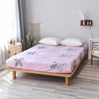 Pink Black White Print Pattern 100% Cotton Sheets Fitted Bed Sheet Elastic Mattress Cover Bed Linen Bedspread Single Full Queen