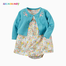 SLKMSWMDJ Spring and Autumn NEW Baby Wear Cotton Sleeveless Dress + Long Sleeve Jacket  Cute Two Piece Set 12 Colors