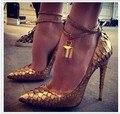 Verão mulheres bombas gladiador mulheres bombas ouro bloqueio salto fino de salto alto sapatos de casamento mulher PPO028