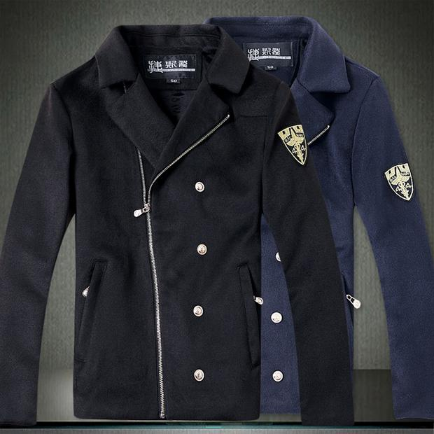Zipper Pea Coat   Down Coat