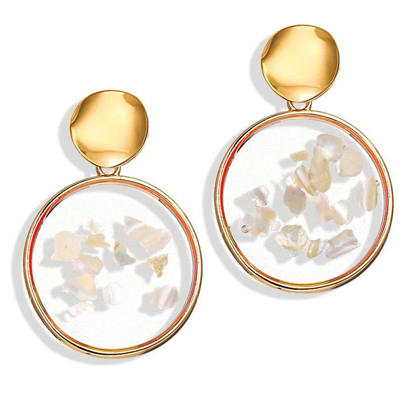 Vintage Earrings 2019 Geometric Shell Earrings For Women Girls BOHO Resin Drop Earrings Brincos Fashion Tortoise Jewelry 14
