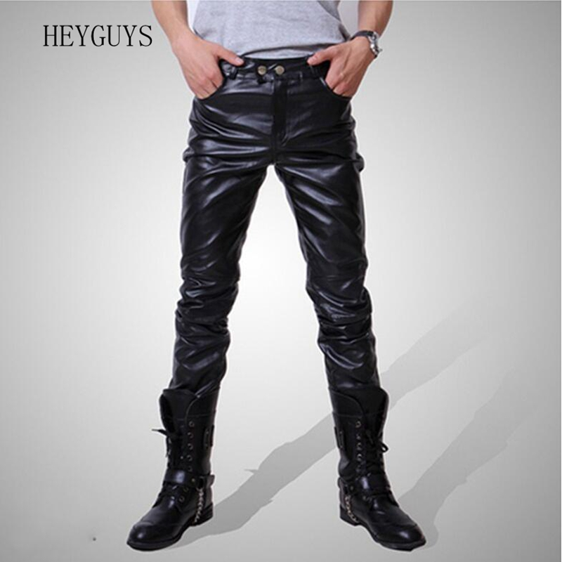 2020 Men Skinny Faux Leather Leisure Pants Black Gold Silver Pu Shiny Pants Singers Club Performance On Stage Dancer Jeans Plus
