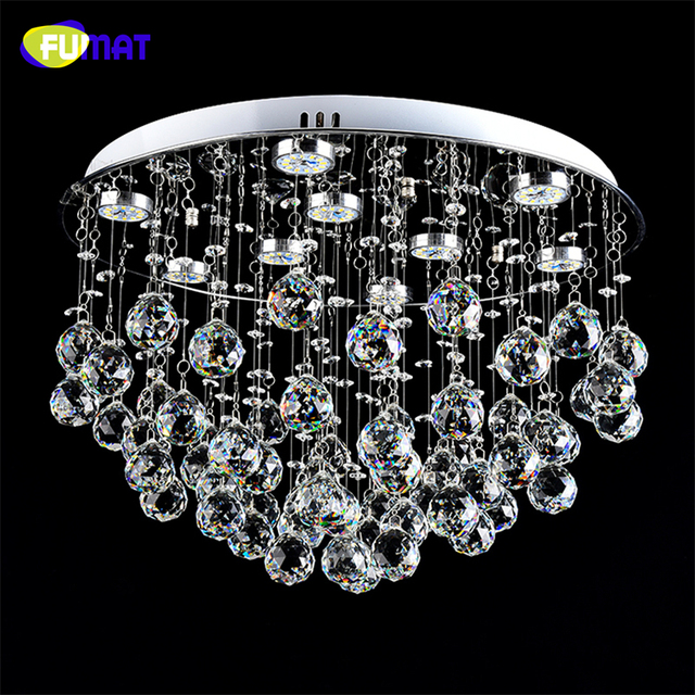 FUMAT K9 crystal Ceiling Lamp LED Dimming LED Lustre Crystal light For Living Room Brief Modern Chrome finished Crystal Lamps