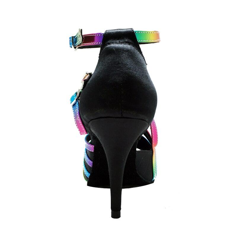 Chaussures de danse Tango personnalisables PU supérieur arc-en-ciel brillant latine salle de bal Salsa chaussures de danse femme filles femmes sandales Discount - 3