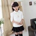 Новая Коллекция Весна Осень корейских Детей Кружева Девушки Рубашка Мода Хлопка С Длинными Рукавами Футболки Детская Одежда Белый Розовый