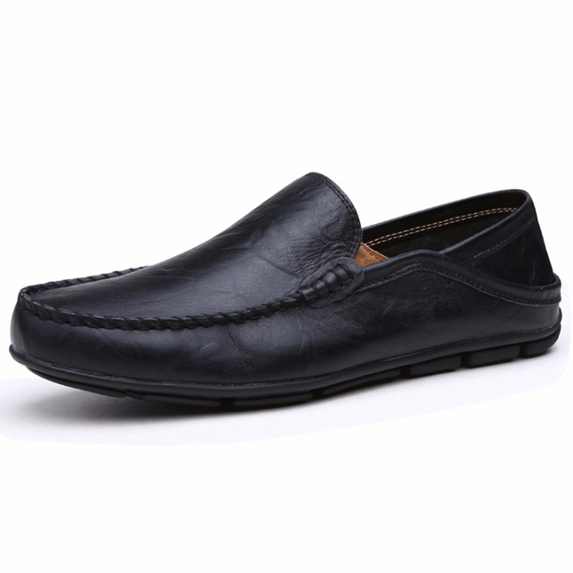 Men Casual Trend for Fashion Outdoor Hiking Flat Slip on Loafers Leather Shoes - Black 41 sale best sale high quality buy online NEyZp
