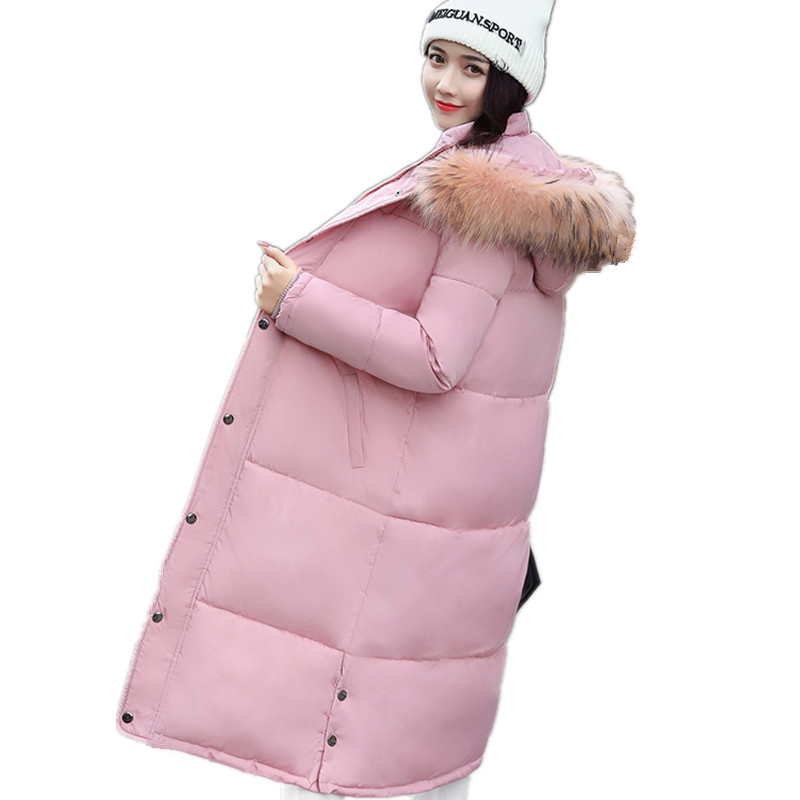 Large Faux Fur Hooded Winter Pink Cotton Padded Parka Women Coat Large Size Loose Wadded Jacket Women Parkas Fashion TT3131 winter thicker large fur collar hooded cotton jacket women warmer padded parka high quality wadded ukraine coat chaqueta mujer