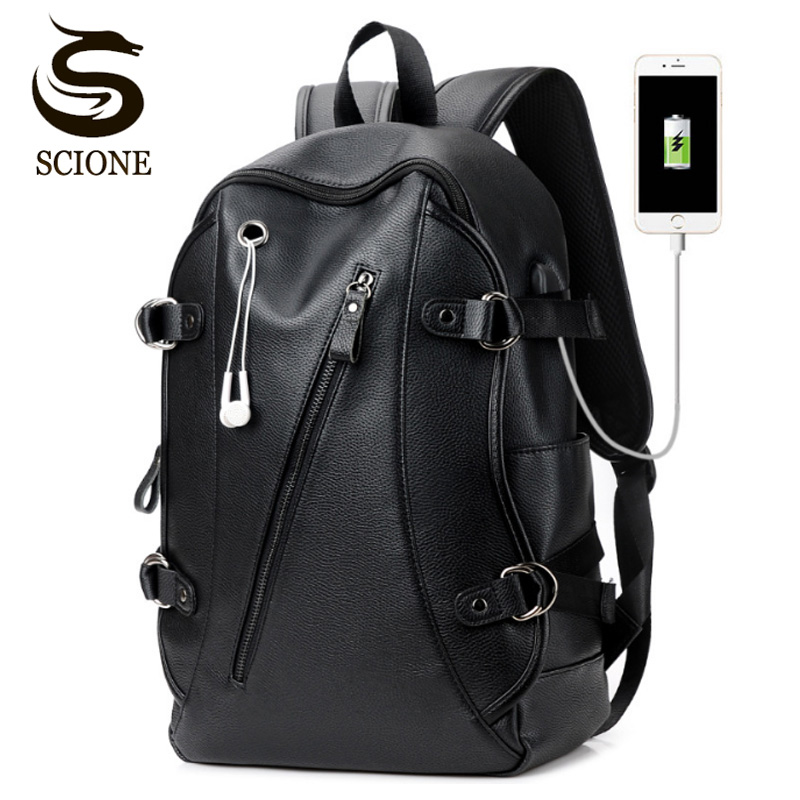 Men s Leather Waterproof Large Laptop Bag USB Design with Headphone hole  Travel Backpack School Bags Mochila e450656ad7